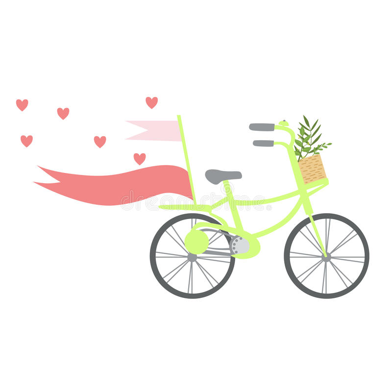 Fahrrad Mit Herzen, Bändern Und Anlagen Im Korb, Schablonen-St ...
