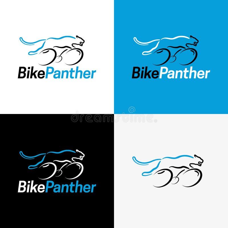 Fahrrad-Pantherlogo und -ikone Auch im corel abgehobenen Betrag lizenzfreies stockfoto