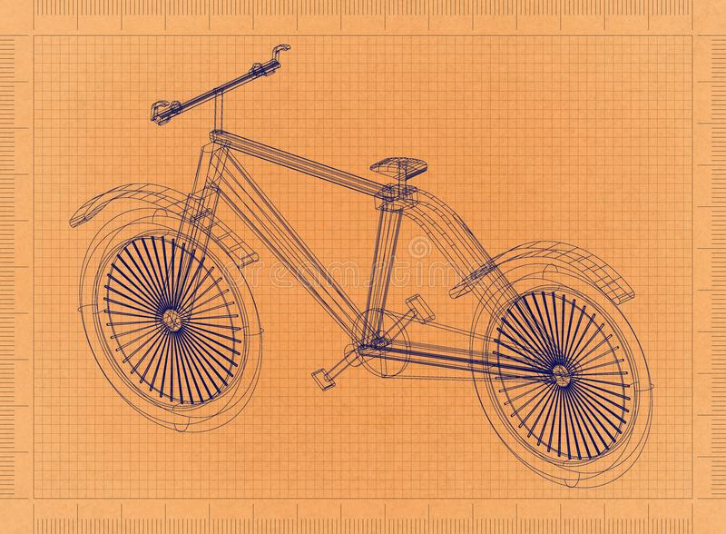 Fahrrad - Retro- Plan stock abbildung