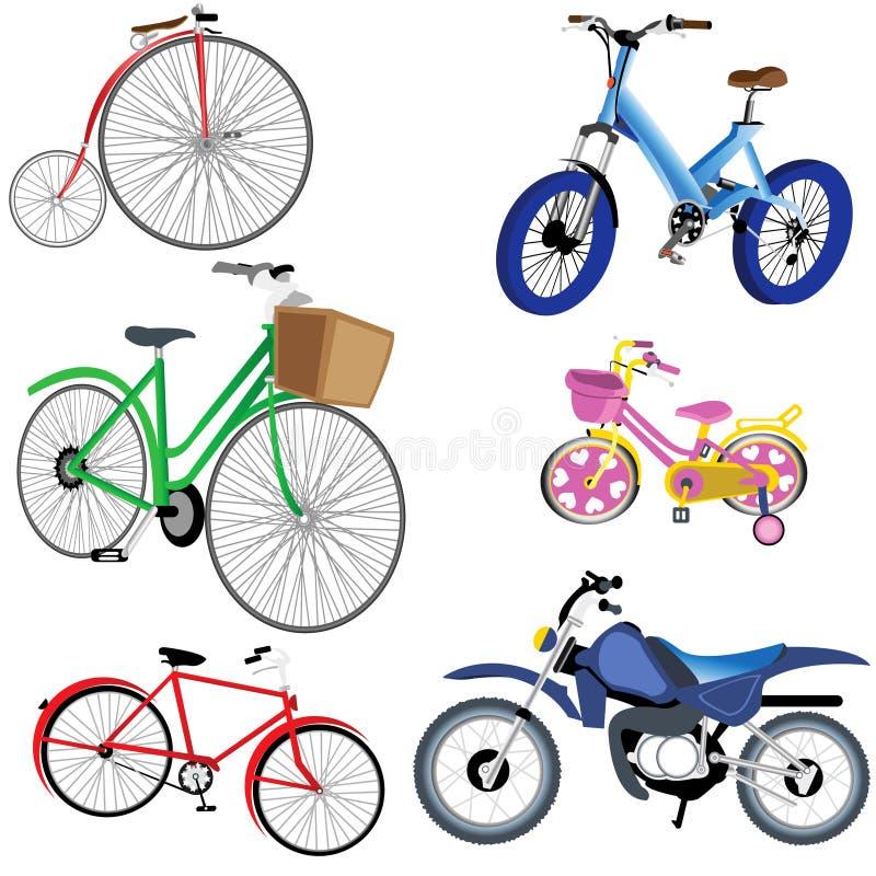 Fahrrad-und Motorrad-Ikonen stock abbildung