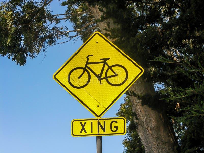 Fahrrad Xing-Zeichen, CA lizenzfreies stockfoto