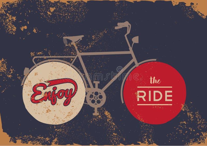 Fahrradkonzeptweinlesefahrradkonzept-Schmutzplakat stock abbildung