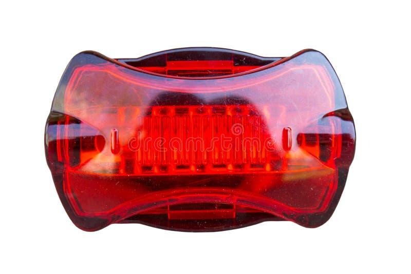 Fahrradlampesignal lokalisiert, rotes Fahrradrücklicht auf weißem Hintergrund Front View lizenzfreie stockbilder