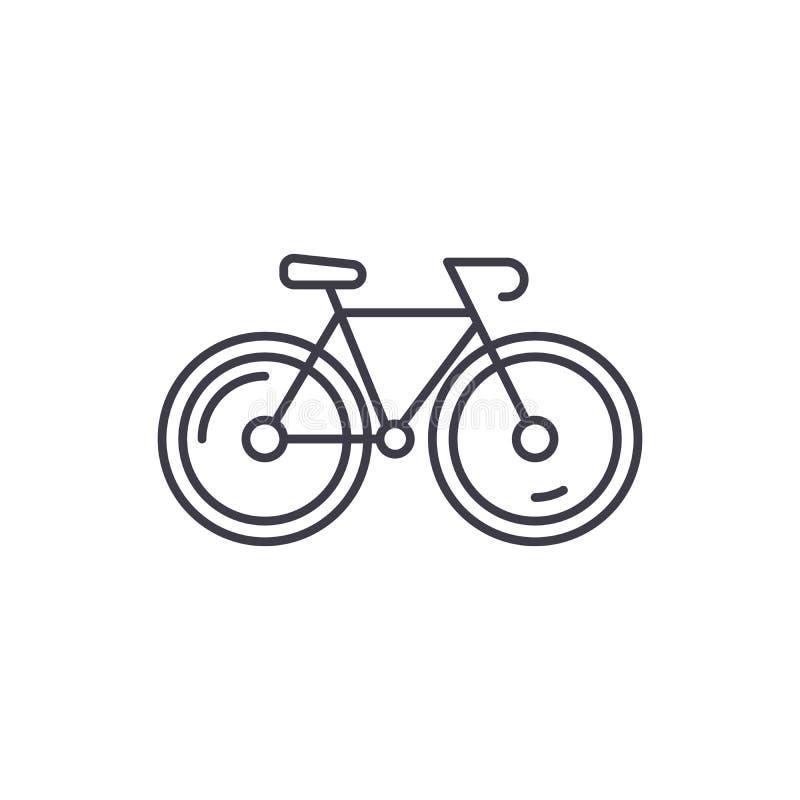 Fahrradlinie Ikonenkonzept Lineare Illustration des Fahrradvektors, Symbol, Zeichen lizenzfreie abbildung