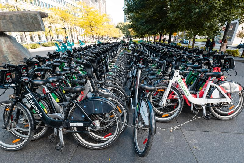 Fahrradmiete in Montreal stockfotos