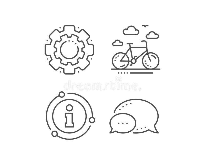 Fahrradmietlinie Ikone Fahrradmietzeichen weibliches Haushaltungsarbeitskraftm?dchen, das Bett mit Bettzeug am Gasthausraum macht vektor abbildung
