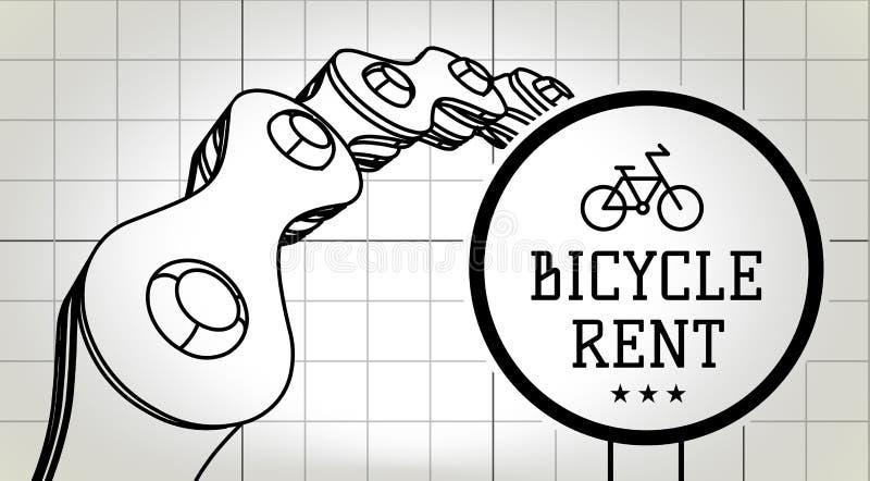 Fahrradmietzeichen auf Planhintergrund mit Fahrradkette Vektor lizenzfreie abbildung