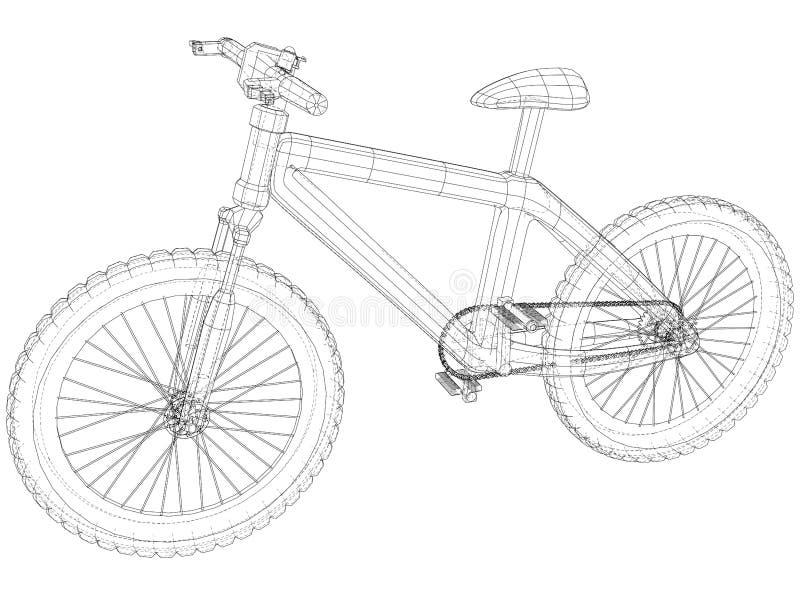 Fahrradplan Entwurfsfahrrad auf weißem Hintergrund Geschaffene Illustration von 3d stock abbildung