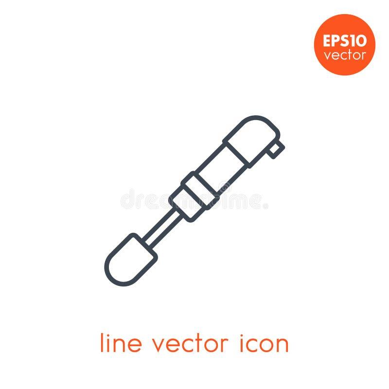 Fahrradpumpen-Vektorikone auf dem Weiß, linear vektor abbildung