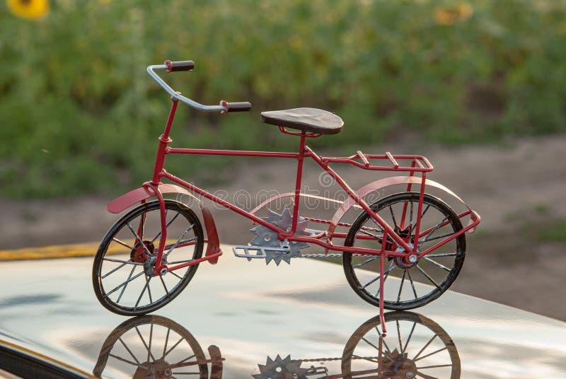Fahrradrot auf der Oberfläche der Haube des Autos lizenzfreie stockfotografie