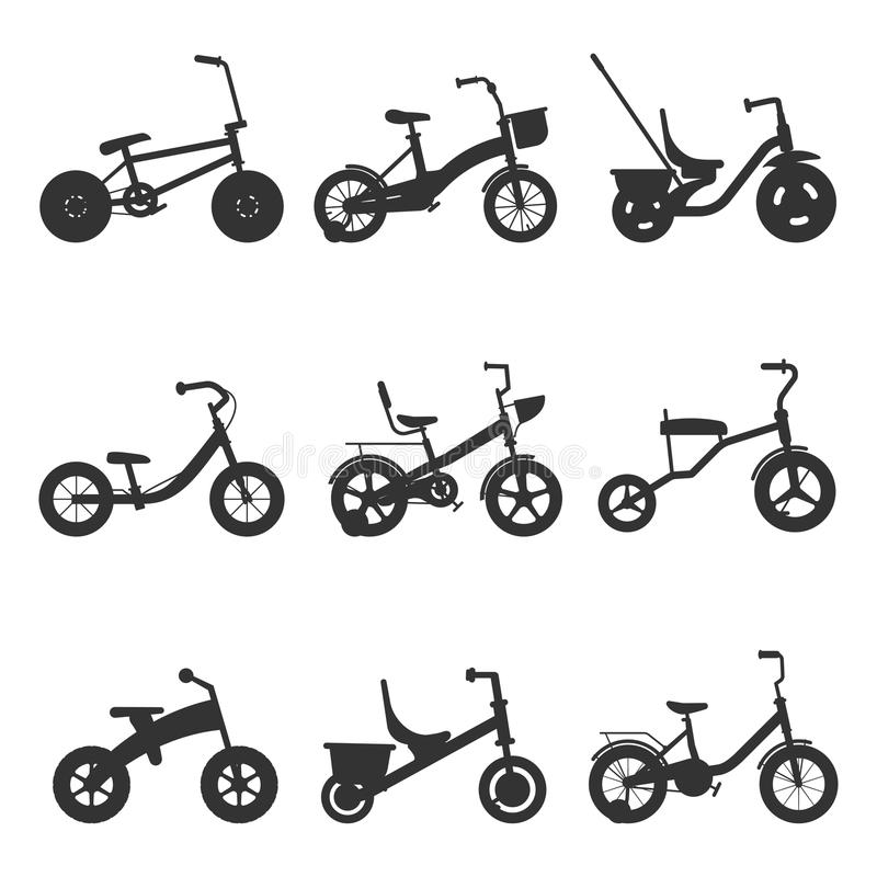 Fahrradschattenbilder der Kinder lizenzfreie abbildung