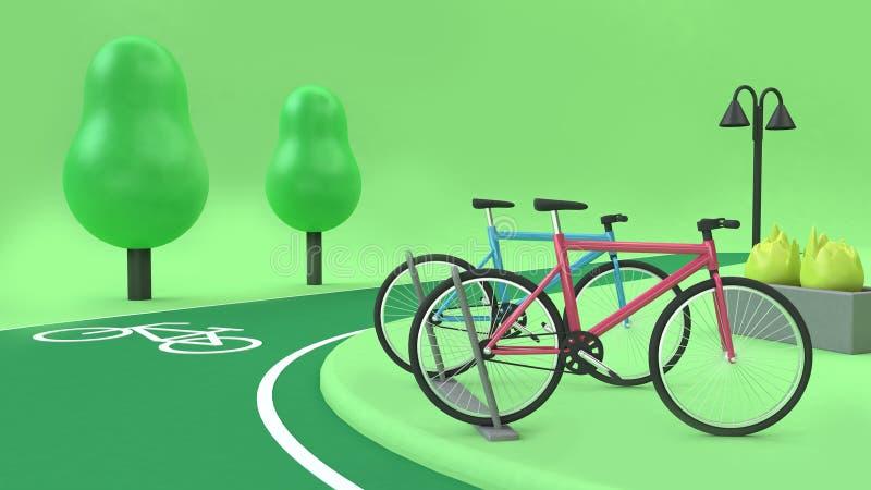 Fahrradstation mit der Tiefpolybäume 3d der Radweggrünparks 3d Wiedergabekarikaturart, Transportnatur lizenzfreie stockbilder