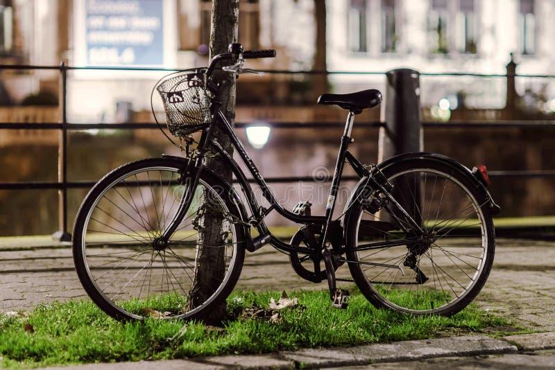 Fahrradwarteinhaber an der Nachtstraße lizenzfreie stockfotografie