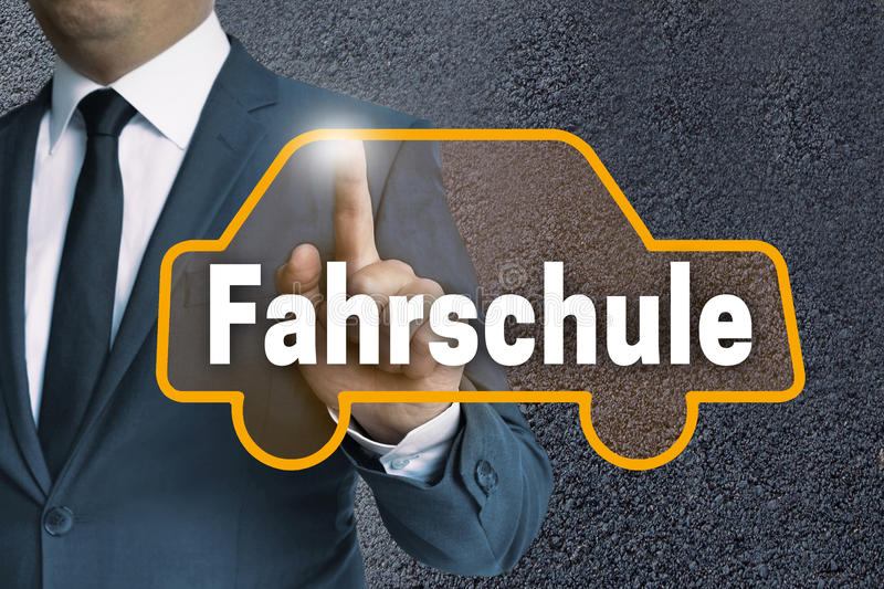 Fahrschule in german Driving school auto touchscreen is operat royalty free stock images