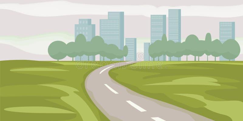 Fahrweg zu den Stadtgebäuden auf Horizontvektorillustration, Landstraßenstadtbild-Karikaturart, moderne große Wolkenkratzerstadt vektor abbildung
