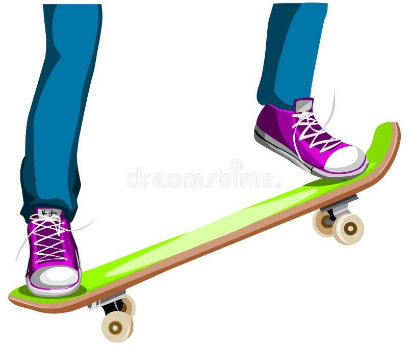 Fahrwerkbeine des Mädchens, die ein Skateboard reiten lizenzfreie abbildung