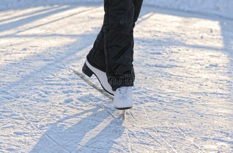 Fahrwerkbeine des Schlittschuhläufers stockfoto