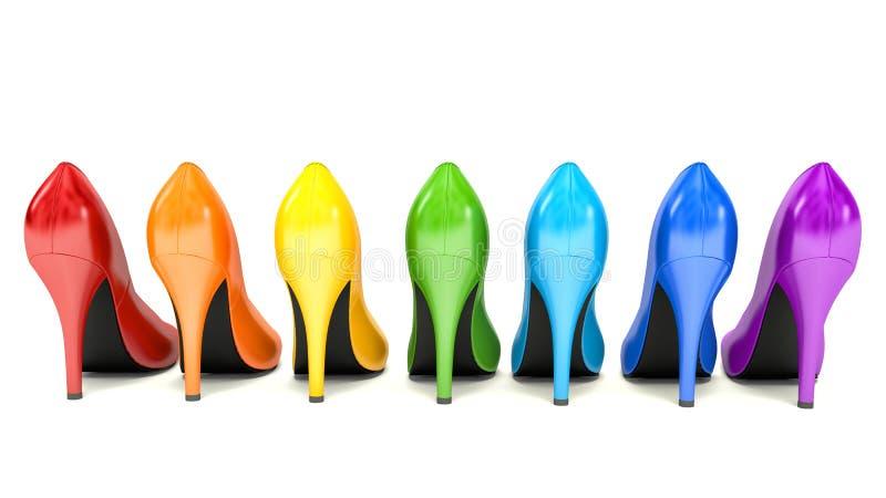 Fahrwerkbeine und Frauenbeutel auf weißem Hintergrund Wahl von farbigen Schuhen der hohen Absätze auf Weiß stock abbildung