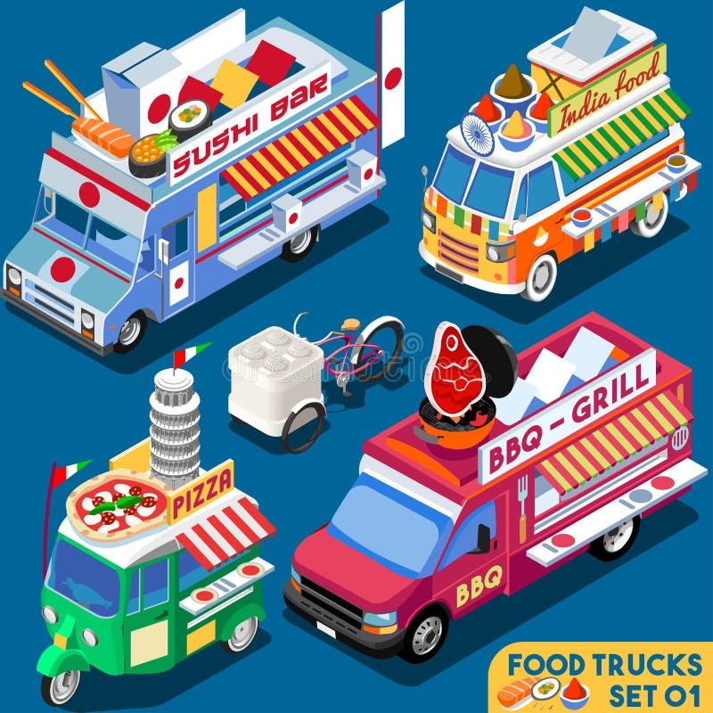 Fahrzeug des Lebensmittel-LKW-Set01 isometrisch vektor abbildung