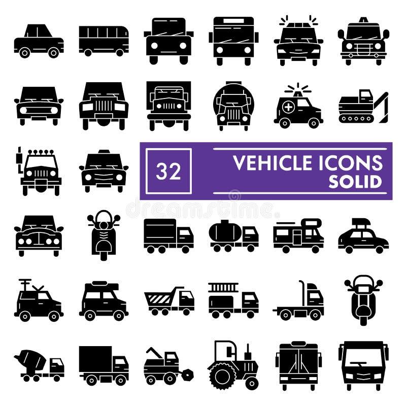 Fahrzeug Glyph-Ikonensatz, Autosymbole Sammlung, Vektorskizzen, Logoillustrationen, festes Piktogrammpaket der Selbstzeichen lizenzfreie abbildung
