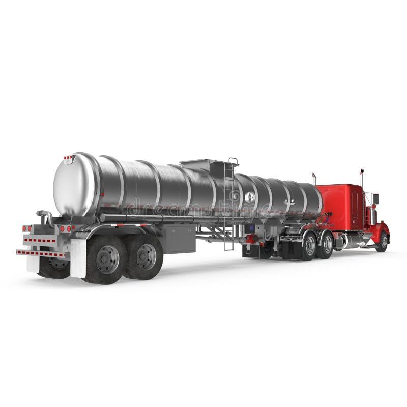 fahrzeug Großer Fracht-LKW becken Benzintanker auf Weiß Abbildung 3D lizenzfreie abbildung