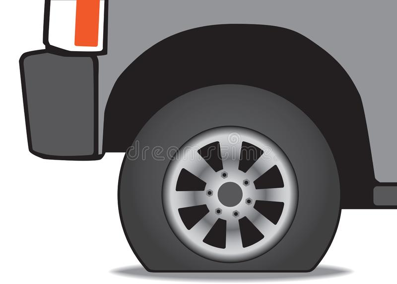Fahrzeug mit einer Reifenpanne lizenzfreie abbildung