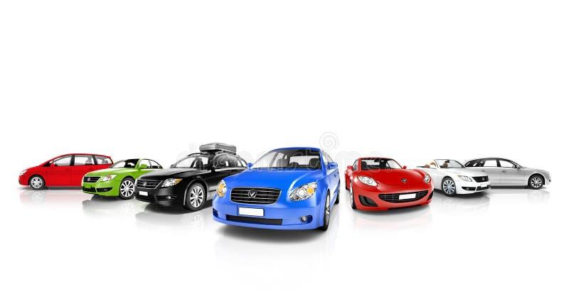 Fahrzeug-Sammlung lokalisiert auf Weiß stockfoto