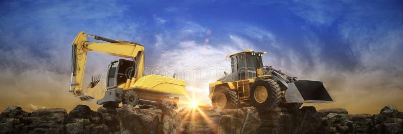 Fahrzeugbau bei Sonnenuntergang 3d stock abbildung