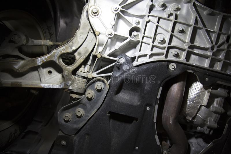 Fahrzeugfahrgestell beschädigt durch Beschränkung lizenzfreie stockfotografie