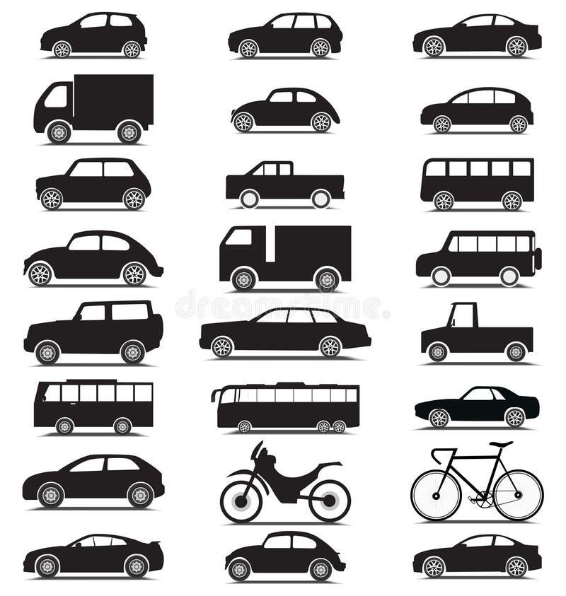 Fahrzeugsammlung mit verschiedenem Jeep, Auto, Bus, Fahrrad, Lastwagenschattenbildikonen lizenzfreie abbildung