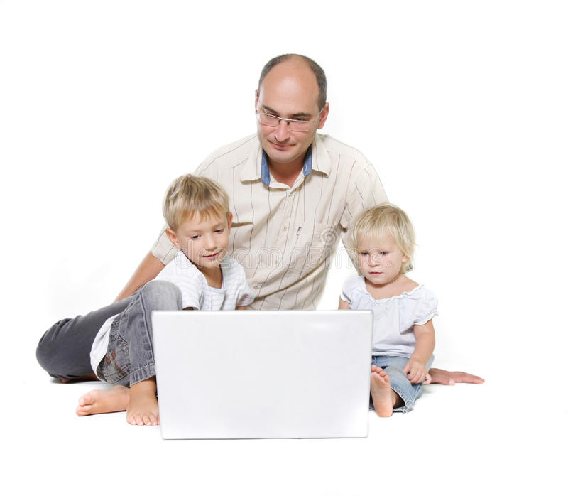 Download Fahter And Two Kids With Laptop Stock Photo - Image: 16317760
