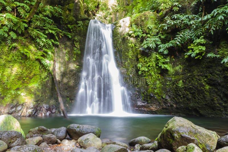 Faial da Terra †'Salto robi Prego siklawie, Sao Miguel, Azores, Portugalia zdjęcia stock
