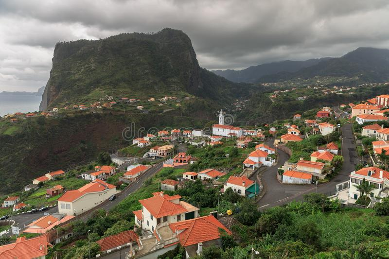 Faial Madeira view. Beautiful view of Faial from the Fortress of Faial on the island Madeira on a cloudy day stock photography
