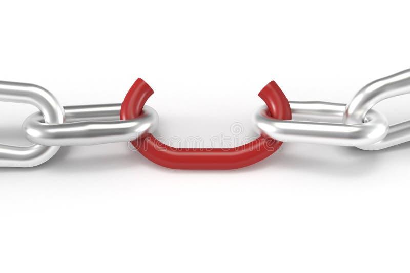 Faible fin rouge de maillon de chaîne vers le haut illustration stock