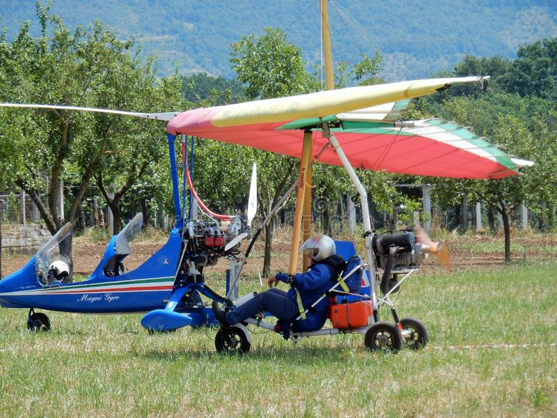 Parked paraglider stock photo