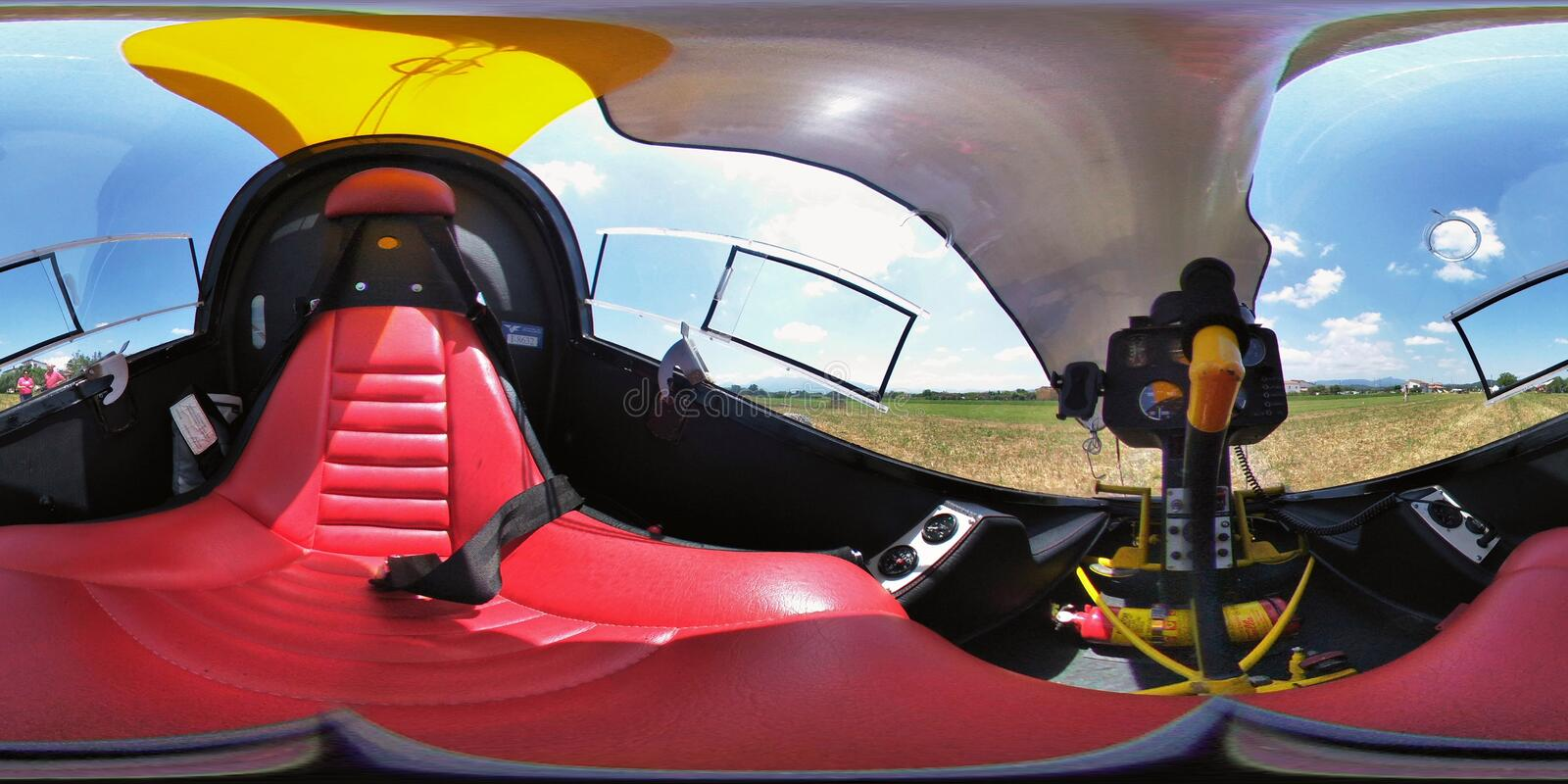 Panoramic 360 helicopter cabin stock photo