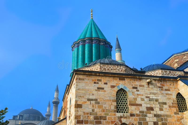 The faience dome. The green faience dome built right over the sarcofagus of Rumi, Konya, Turkey royalty free stock photography