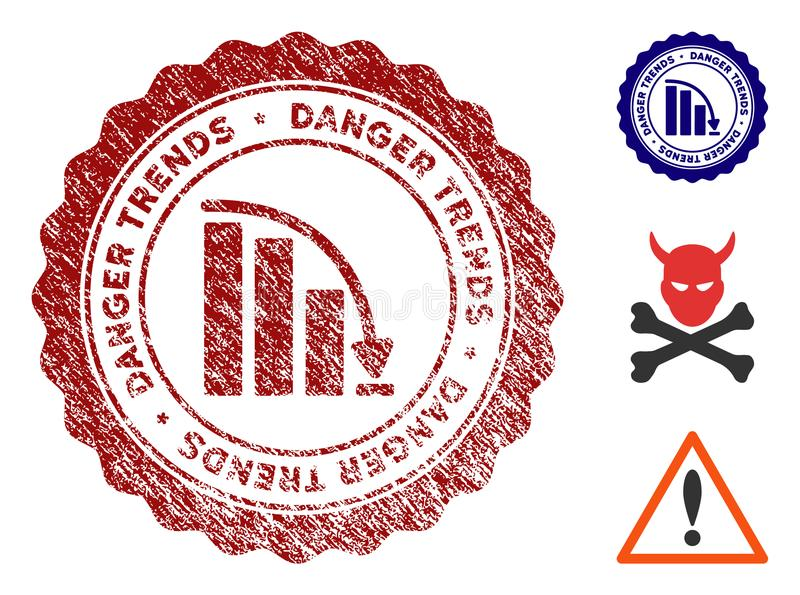 Fail Danger Trends Stamp with Grunge Surface vector illustration