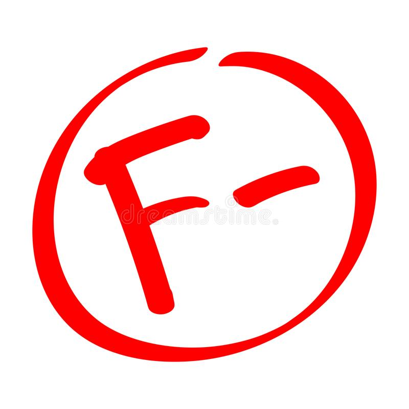 fail Stopnia rezultat F- Wręcza patroszonego wektorowego stopień z minus w okręgu ilustracja wektor