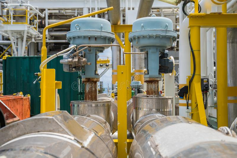 Fail to close type of actuated control valve in oil and gas central processing platform stock images