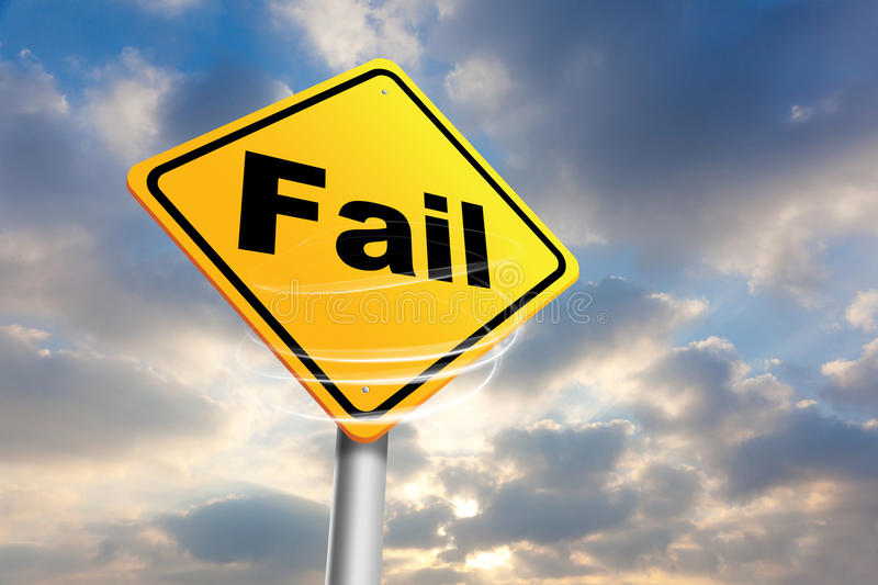 Fail. Yellow fail sign with sky background stock image