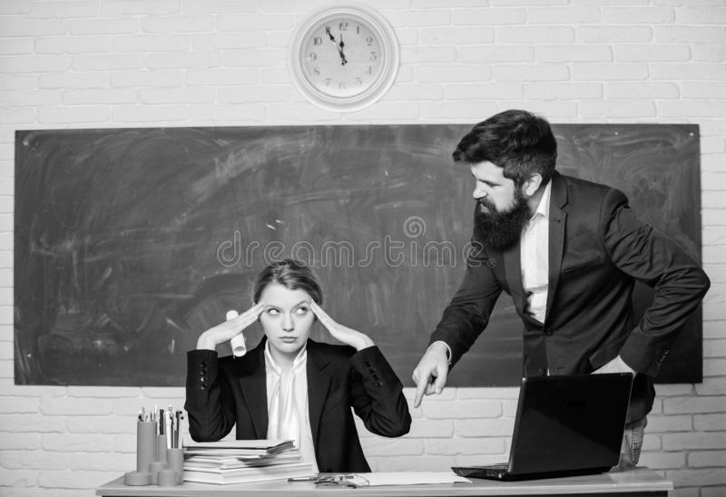Failed again. paper work. office life. teacher and student on exam. businessman and tired secretary. back to school royalty free stock photography