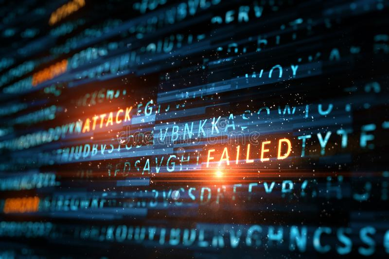 Failed attack background. Creative hacking background. Failed attack concept. 3D Rendering stock images