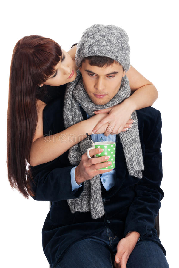Failed dating: sick at home. Man has failed the dating because he is sick at home royalty free stock photography