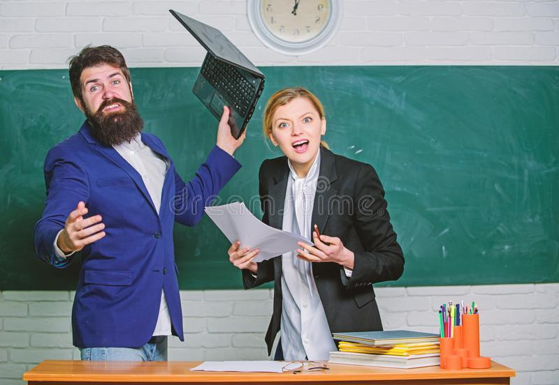 Failed exam. Meager knowledge of subject. Entering high school. Selection committee concept. Teacher and educator. Outraged test exam results. Examination board royalty free stock image