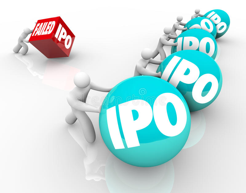 Failed IPO Bad Initial Public Offering Race Competition New Business stock illustration