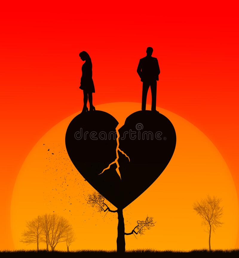 Broken heart concept illustration. Failed love. Sunset relations. Silhouette of a man and woman in ended relationship on a broken heart shape tree. Broken family vector illustration