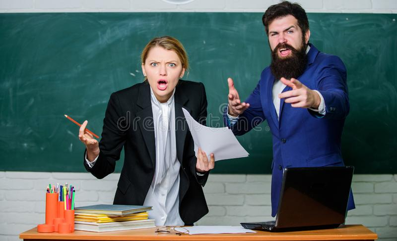 Failed test exam. Failed exam. Meager knowledge of subject. Entering high school. Selection committee concept. Teacher. And educator outraged test exam results royalty free stock image