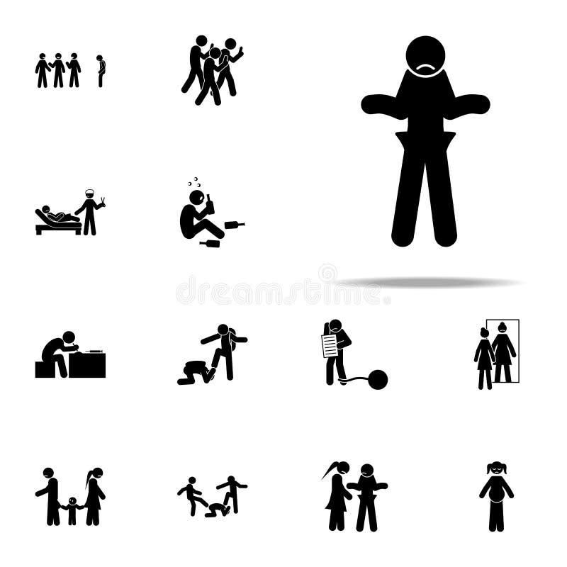 failliet, leeg pictogram Voor Web wordt geplaatst en mobiel de pictogrammenalgemeen begrip van de jeugd sociaal die kwesties vector illustratie