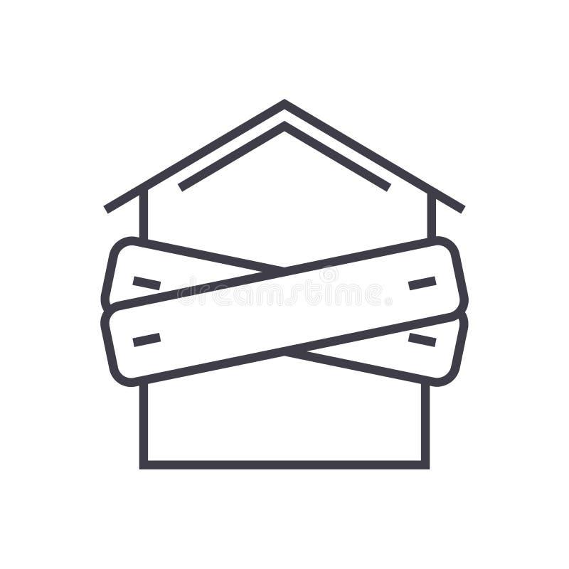 Faillissement, in:schepen-op pictogram van de huis het vectorlijn, teken, illustratie op achtergrond, editable slagen stock illustratie